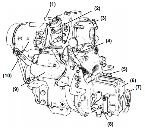 Diagram of Yanmar 1GM Marine Diesel Engine port side