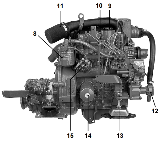 Volvo Penta MD 2030 Starboard Side Components
