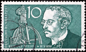 Image showing Rudolf Diesel commemorated on a German stamp
